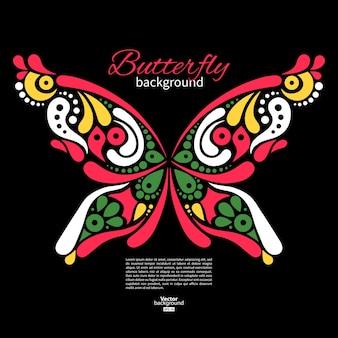 Achtergrond met prachtige vlinder. tatoeage illustratie