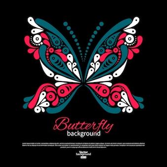 Achtergrond met prachtige vlinder. tatoeage ontwerp