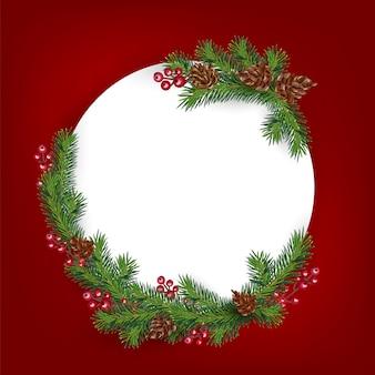 Achtergrond met rand van realistisch ogende versierde kerstboomtakken