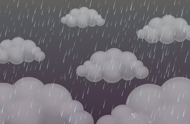 Achtergrond met regen in donkere hemel