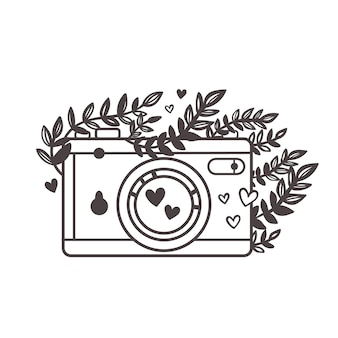 Achtergrond met retro camera fotocamera met bloemen en bladeren camera omtrek