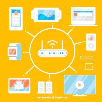 Achtergrond met router omringd door elektronische apparaten