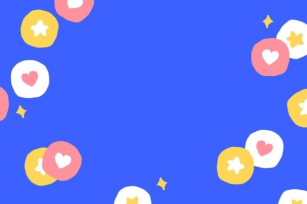 Achtergrond met schattige social media iconen op blauw