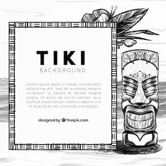 Achtergrond met schetsmatig stammen totem en frame