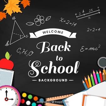 Achtergrond met schoolmateriaal een schoolbord