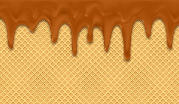 Achtergrond met smeltende chocolade op wafeltje.