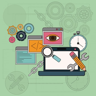 Achtergrond met softwarehulpmiddelen voor ontwikkeling van de bouw in laptop computer