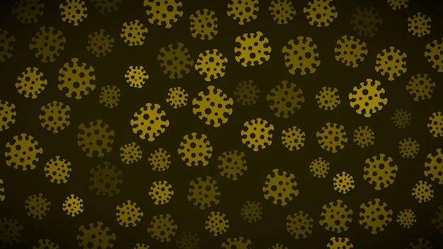 Achtergrond met symbolen van virus in donkere gele kleuren. illustratie over de pandemie van het coronavirus.