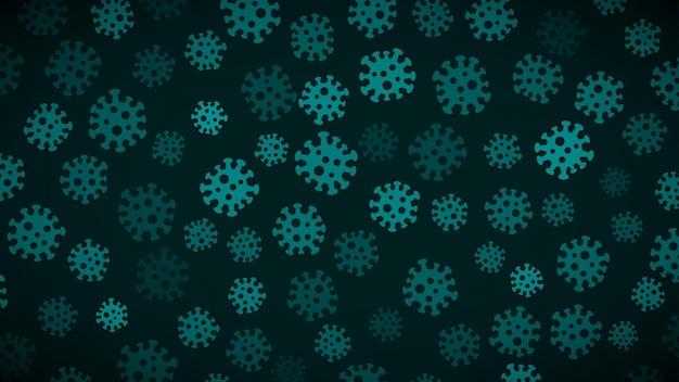 Achtergrond met symbolen van virus in lichtblauwe kleuren. illustratie over de pandemie van het coronavirus.