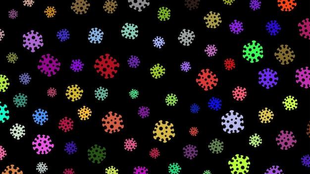 Achtergrond met symbolen van virus, veelkleurig op zwart. illustratie over de pandemie van het coronavirus.