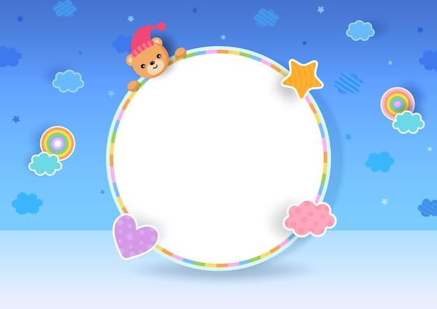 Achtergrond met teddybeer op frame