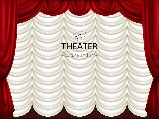 Achtergrond met toneel, rode en witte theatergordijnen. zijden drapering.