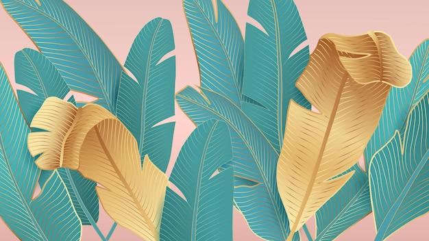 Achtergrond met tropische bladeren van palmbomen op een roze achtergrond.