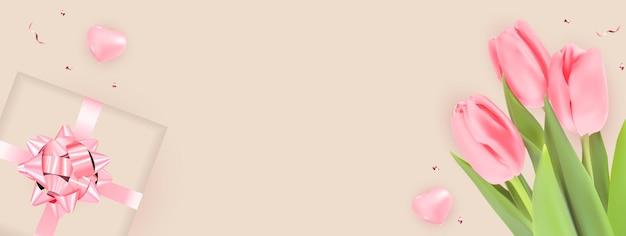 Achtergrond met tulpen en geschenkdoosontwerp.