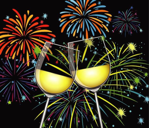 Achtergrond met twee glazen champagne en vuurwerk