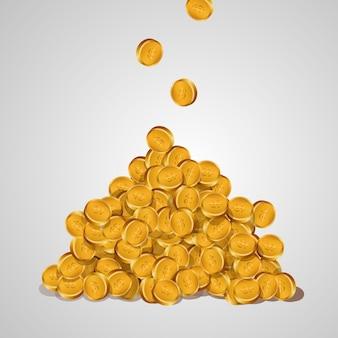 Achtergrond met vallende gouden munten geïsoleerd op een witte achtergrond. een berg gouden munten.