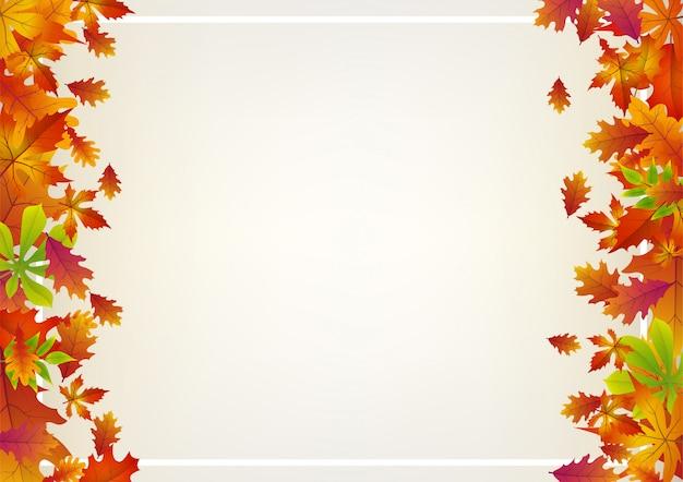 Achtergrond met vallende herfstbladeren aan de zijkant.