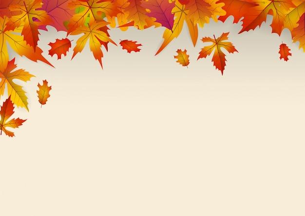 Achtergrond met vallende herfstbladeren.