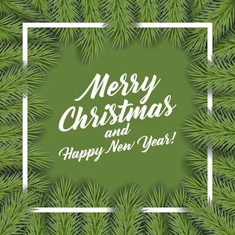 Achtergrond met vector kerstboom takken en ruimte voor tekst. realistische dennenboom grens, frame geïsoleerd op wit. geweldig voor kerstkaarten, banners, flyers, feestposters.