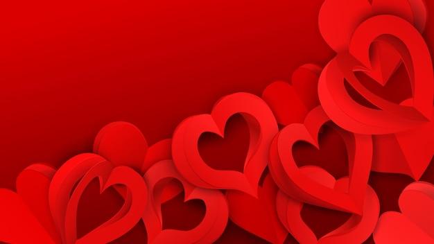Achtergrond met veel papiervolumeharten met gaten, in rode kleuren