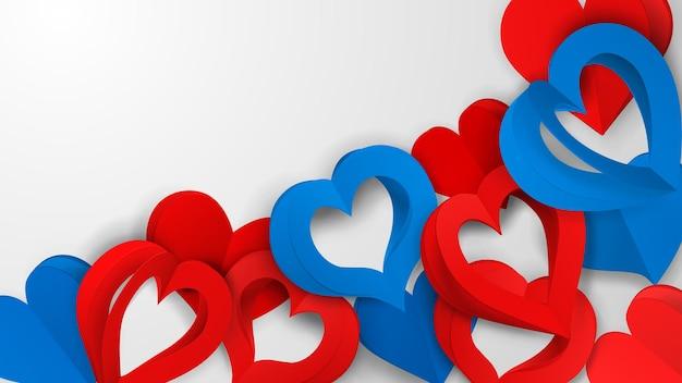 Achtergrond met veel rode en blauwe papieren volumeharten met gaten op wit