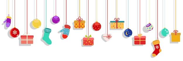 Achtergrond met veelkleurige hangende geschenkdozen, sokken, wanten en kerstballen op witte achtergrond