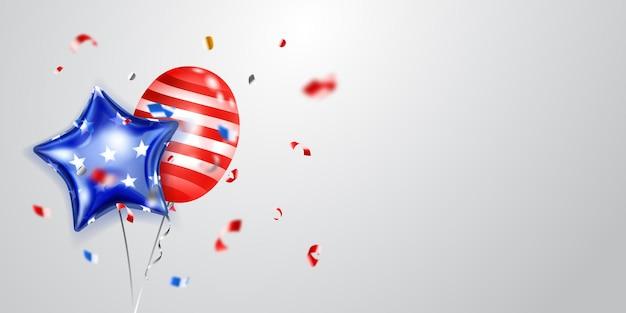 Achtergrond met verschillende gekleurde ballonnen in de kleuren van de vlag van de v.s. en stukjes glanzende serpentine. illustratie voor de onafhankelijkheidsdag van de verenigde staten van amerika