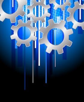 Achtergrond met versnellingen. abstracte blauwe technologieillustratie met strepen