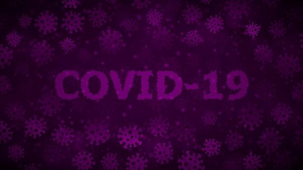 Achtergrond met virussen en inscriptie covid-19 in donkerpaarse kleuren. illustratie over de pandemie van het coronavirus.