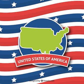 Achtergrond met vlag en kaart van de verenigde staten van amerika