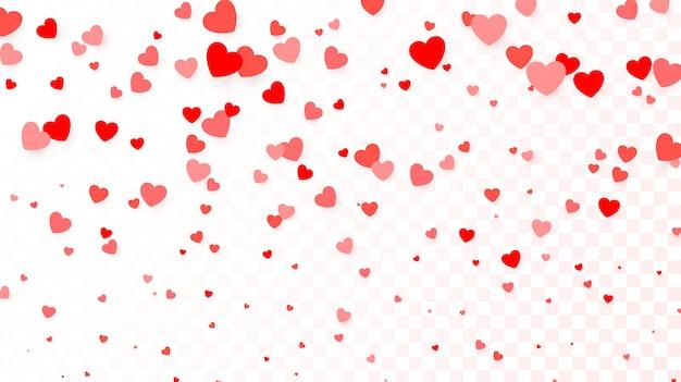Achtergrond met vliegende rode harten. hart achtergrond voor poster, huwelijksuitnodiging, moederdag, valentijnsdag, vrouwendag, kaart. illustratie