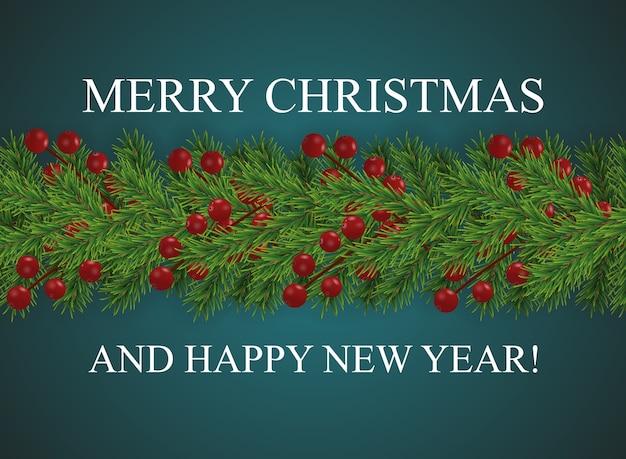 Achtergrond met wensen prettige kerstdagen en gelukkig nieuwjaar