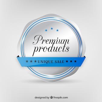 Achtergrond met zilveren insignes van premium producten