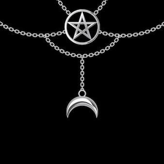 Achtergrond met zilveren metalen ketting. pentagram hanger en kettingen. op zwart. vector illustratie.