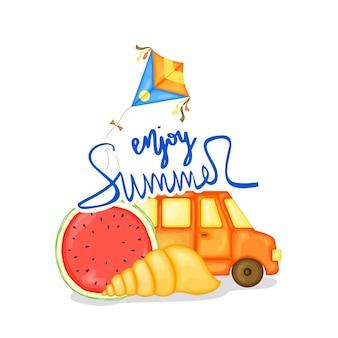 Achtergrond met zomer items. cartoon-stijl. vector illustratie.