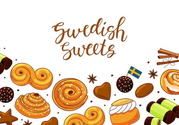 Achtergrond met zweedse snoepjes en kaneel.
