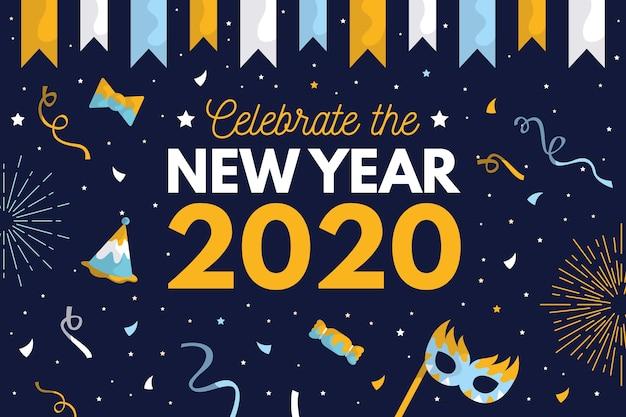 Achtergrond nieuw jaar in plat ontwerp