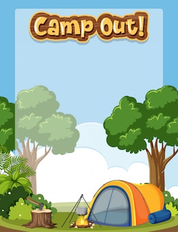 Achtergrond omlijst met camping thema