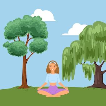 Achtergrond, ontspannende fitness in het bos, de natuur bevordert de gezondheid, het doen van zomer yoga buitenshuis, cartoon illustratie.
