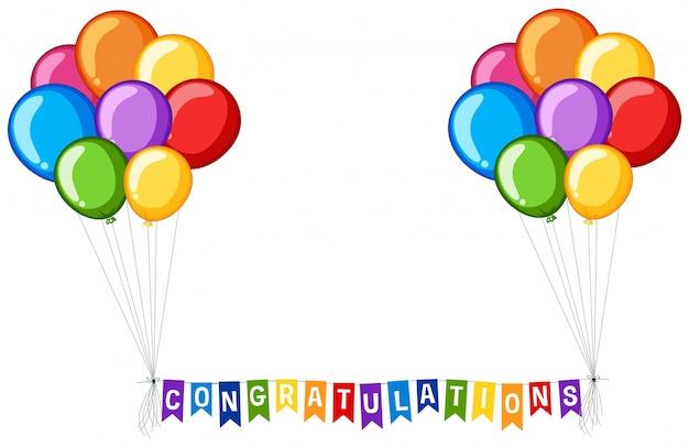 Achtergrond ontwerp met ballonnen en woord gefeliciteerd