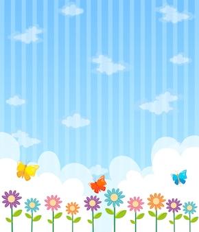 Achtergrond ontwerp met bloemen en blauwe hemel