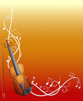 Achtergrond ontwerp met viool en muziek notities