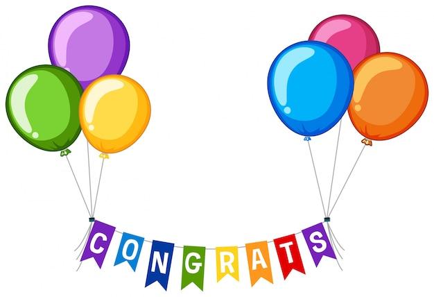 Achtergrond ontwerp met woord congrats en kleurrijke ballonnen