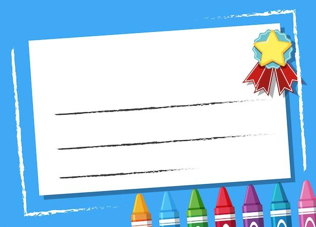 Achtergrond ontwerpsjabloon met kleurpotloden op blauw frame