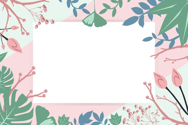 Achtergrond pasteltinten planten frames natuur ontwerp