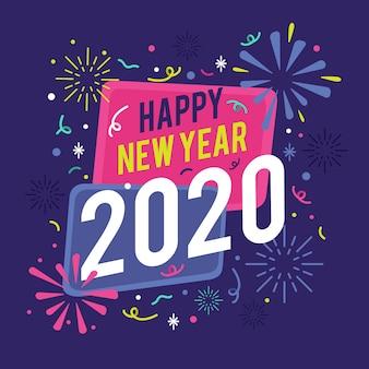 Achtergrond plat ontwerp nieuw jaar