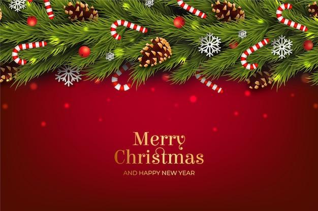 Achtergrond realistisch kerstmisklatergoud