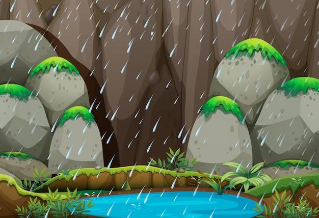Achtergrond scène met regen in de berg