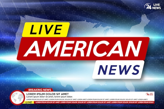 Achtergrond screensaver op amerikaans breaking news. brekend nieuws live op de kaartachtergrond van de vs.