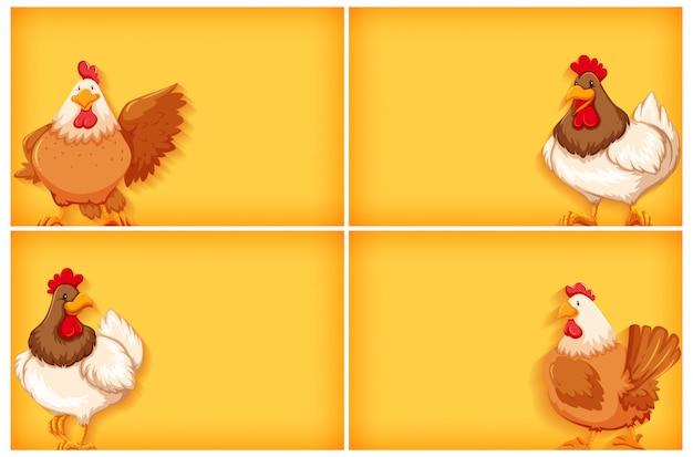 Achtergrond sjabloon met effen kleur en kippen